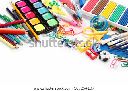 office and student accessories isolated over white background. Back to school concept. - stock photo