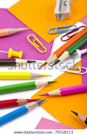 office and student tool with colorful pencils over white background - stock photo