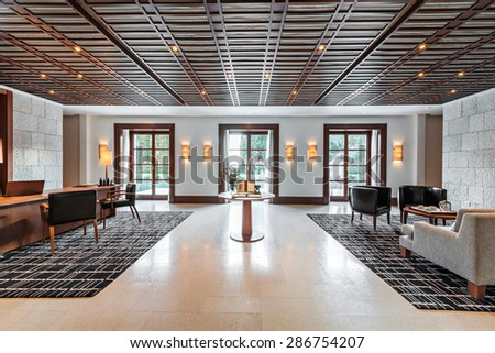 office and waiting room in a luxury hotel - stock photo
