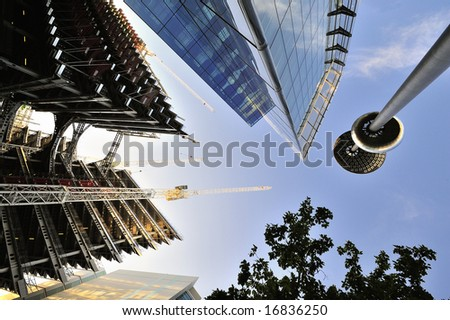 Office block construction in late afternoon light - stock photo