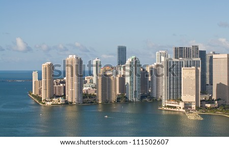 Office blocks in downtown Miami, Florida, viewed from 200 feet. - stock photo
