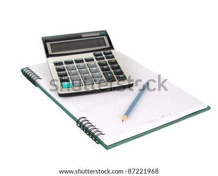 Office book with a pencil and a calculator on a white background - stock photo