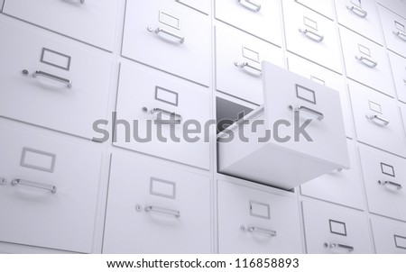 Office bookcase with drawers. One box is open. 3d rendering - stock photo