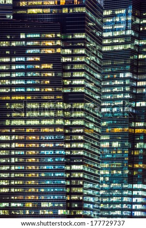 Office Building background at night - stock photo