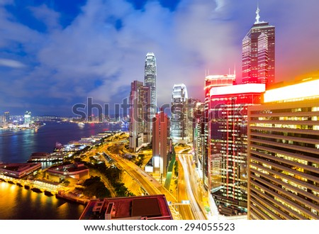 Office building in Hong Kong at night - stock photo