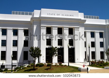 Office building of the attorney general of the state of Alabama located in the state capitol Montgomery, Alabama. - stock photo