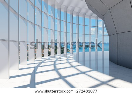 Office building with large panoramic sea views - stock photo