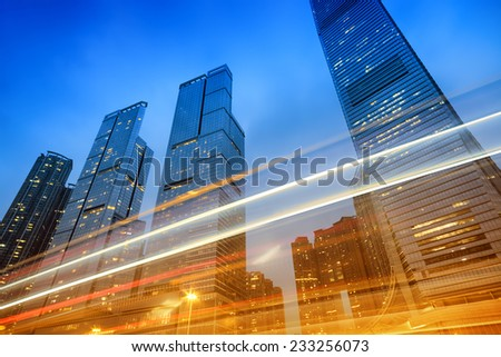 Office buildings at night in Hong Kong, China.  - stock photo