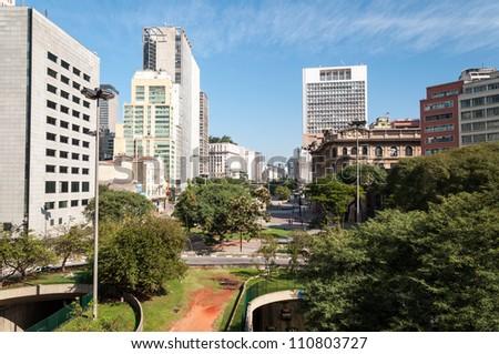 Office buildings city of Sao Paulo, near the park Anhangabau. - stock photo