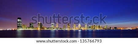 Office buildings in Exchange Place, Jersey City, New Jersey - stock photo