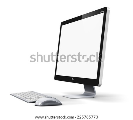 Office business technology communication internet concept: modern professional desktop computer PC workstation with blank screen or empty monitor, keyboard and mouse isolated on white background - stock photo