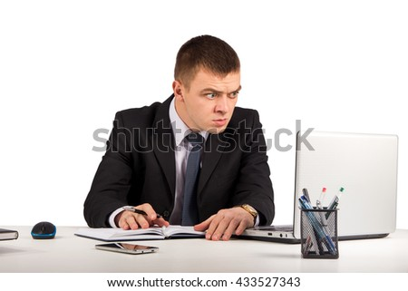 Office, business, technology, finances and internet concept - Surprised businessman with laptop computer and documents at office isolated on white background - stock photo