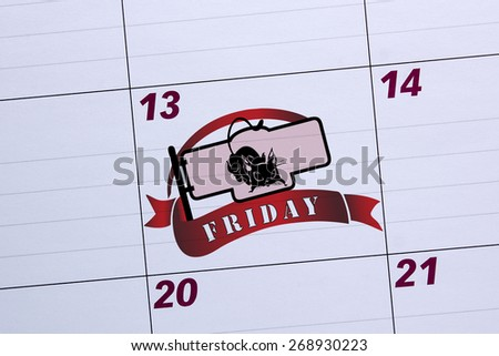 Office calendar marked Friday the 13th. Days of failure. - stock photo