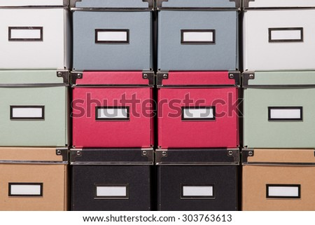 office cardboard boxes background - stock photo