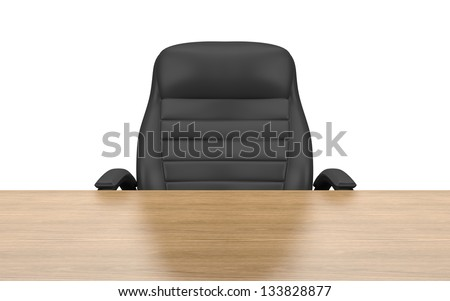 office chair at table isolated with clipping path - stock photo