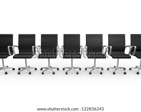 Office chairs in waiting room with a row, isolated on white background. - stock photo