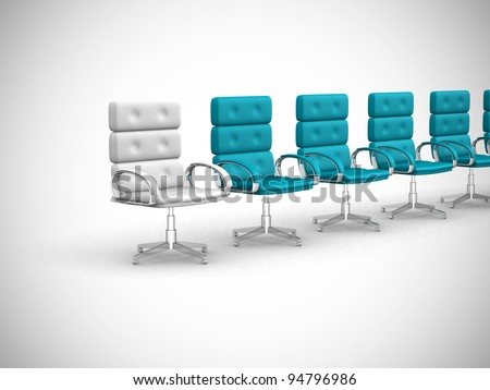 office chairs one standing out - 3d render - stock photo