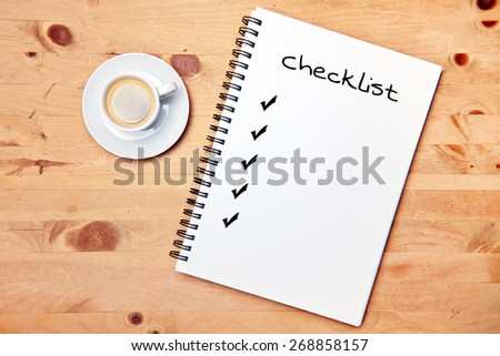 office - coffee - writing pad - checklist - stock photo