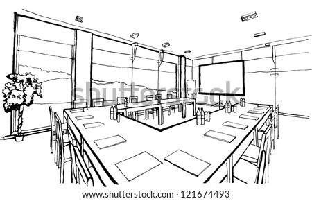 Office, conference hall. Hand drawing, inc, isolated on white - stock photo