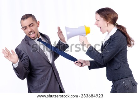 Office conflict between man and woman isolated on white - stock photo