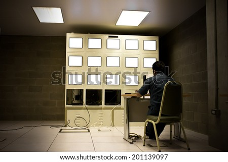 office control room subways security technology monitor - stock photo