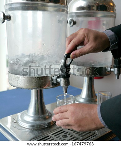 Office cooler with water container , dispenser drink - stock photo