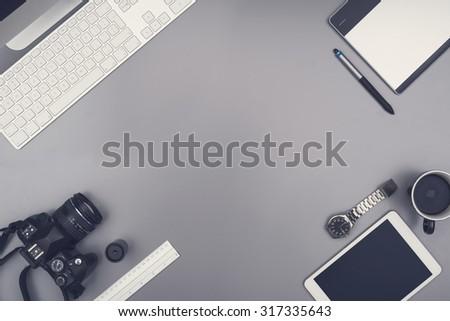 Office desk hero header - stock photo