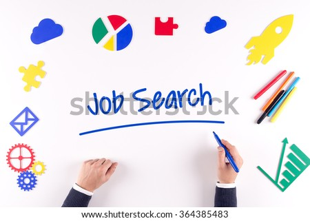 Office desk with a single word Job Search - stock photo
