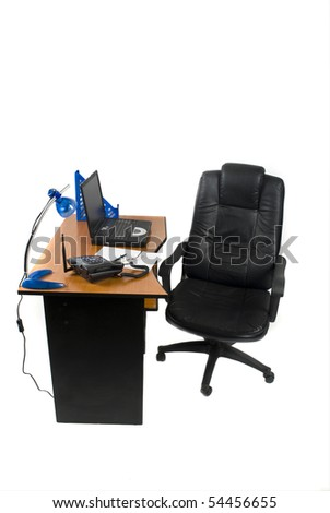Office desk with laptop and phone isolated on white background - stock photo