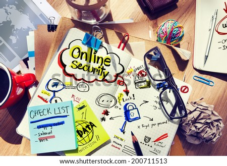 Office Desk with Notes About Online Security - stock photo