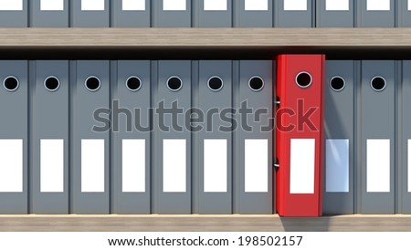 Office file binders on shelf. Archive - stock photo