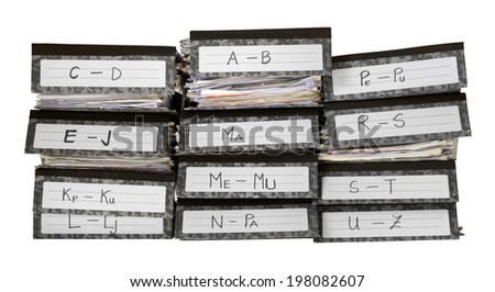 office files in folders alphabetically sorted stack  - stock photo