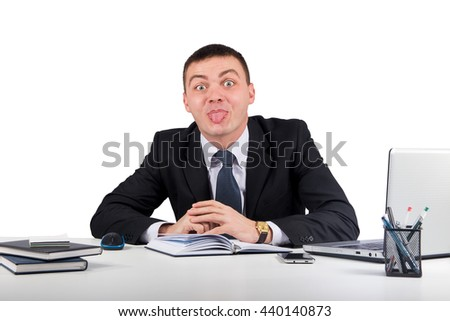 Office, finances, internet, business, success concept-Businessman showing tongue  isolated on white background - stock photo