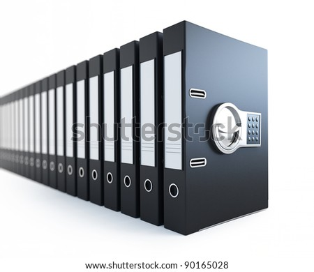 office folder safe on a white background - stock photo