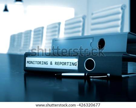 Office Folder with Inscription Monitoring and Reporting on Office Black Table. Monitoring and Reporting - Concept. Monitoring and Reporting - Folder on Black Working Desk. 3D. - stock photo