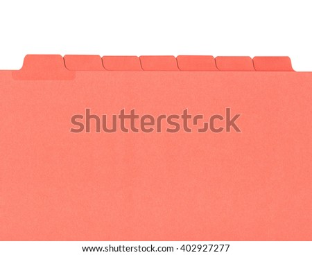 Office folder with numbered tabs isolated on white - stock photo