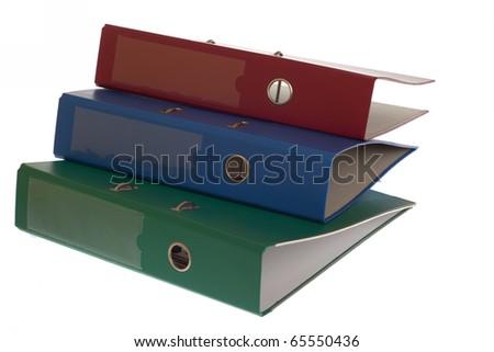 office folders binder isolated on white - stock photo