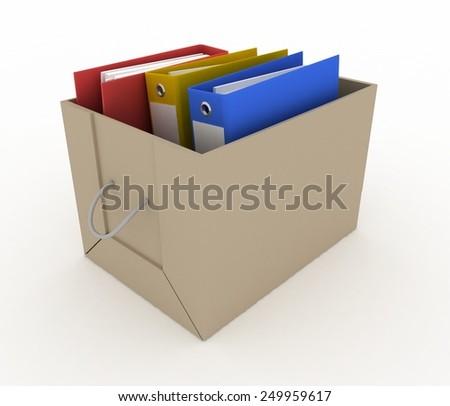 office folders in cardboard box on white background - stock photo