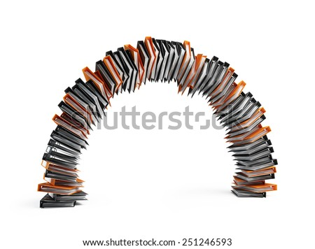 office folders in the form of an arch on a white background - stock photo