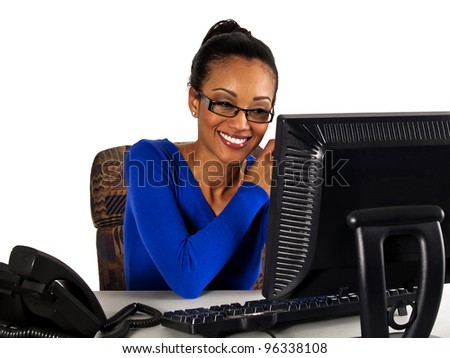 office girl receiving good news via email - stock photo