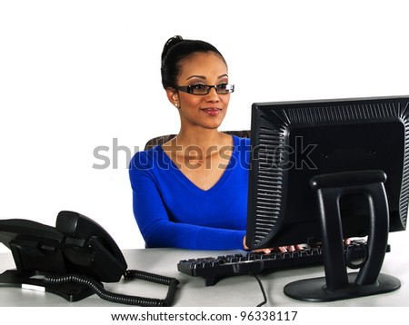 office girl working on a computer - stock photo