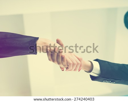 Office Handshake Handshaking low angle top - stock photo