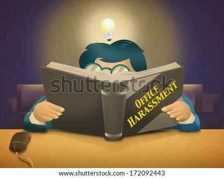 Office Harassment. Man Reading Self-help Book. - stock photo