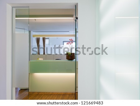 Office Hospital or Clinical. Interior Reception of a medical practice reception - stock photo