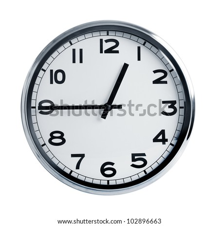 Office hours in the chrome package on a white background - stock photo