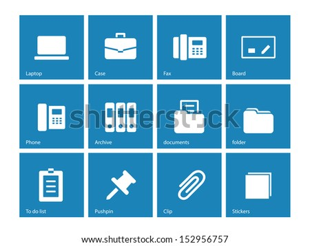 Office icons on blue background. See also vector version. - stock photo