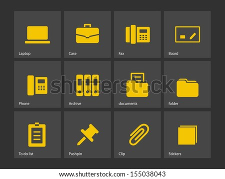 Office icons. See also vector version. - stock photo