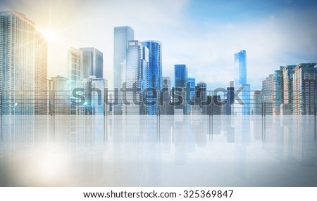 Office in a skyscraper with urban view - stock photo