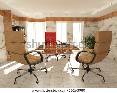 Office interior. Armchair, desk and folders. Recruitment. 3d - stock photo