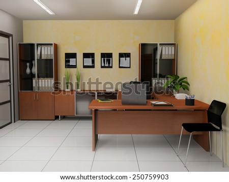 Office interior in modern  style 3d rendering - stock photo